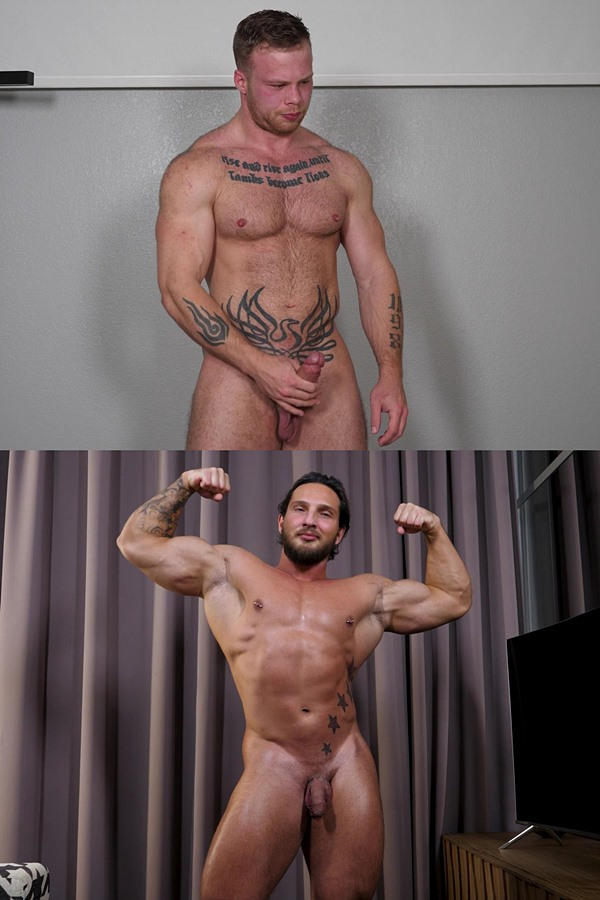 Theguysite - tattooed ex navy Chad Walker and masculine Russian bodybuilder Daniil show off their naked muscular bodies, reveal their tight virgin holes and jerk off 01