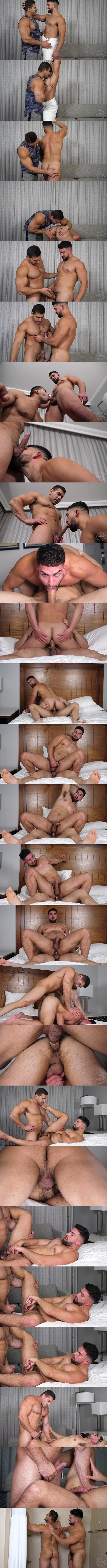 Theguysite - macho latino beefcake Damien Stone pounds sexy, bearded male stripper Nick LA's bubble ass balls deep in several positions before they blow their loads 02