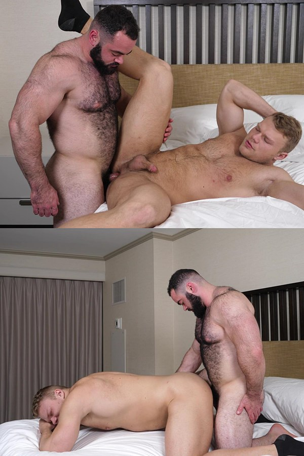 Theguysite - hairy stud Steve Strongarm fucks beefcake Jim (aka Regan at Seancody) in missionary and doggy positions before Jim dumps his creamy load on Steve's bearded face 01