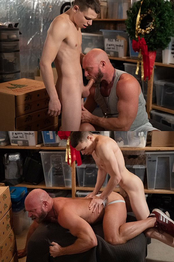 Twinktop - twink Austin Young barebacks macho daddy coach Killian Knox's big muscle ass in doggy style before he breeds the daddy with a thick load in Stocking Stuffers 01