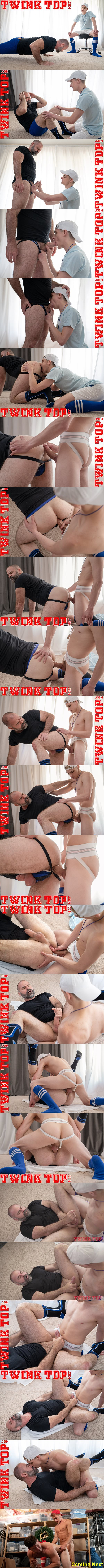 Twinktop - big-cocked twink Marcus Ryan barebacks manly bearded daddy coach Bishop Angus until he fucks the cum out of Angus and creampies him in Top Training 02