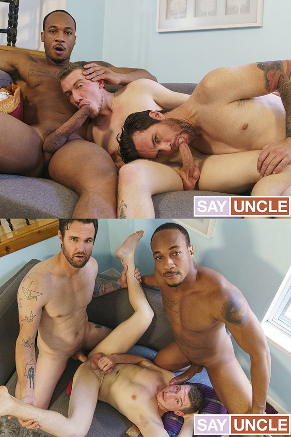 Dadcreep - stepdaddy Trent King and pervy step-uncle Beau Reed bareback stepson William Moore in an interracial threesome before Trent fucks the cum out of William 01