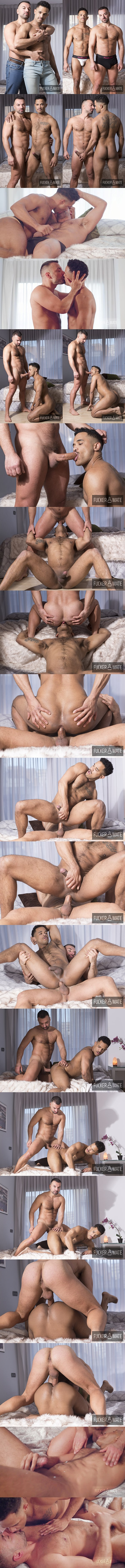 Fuckermate - muscular Spanish stud Oliver Marinho (aka Frederic Duris) barebacks black muscle jock Jonas Brown in several positions before they blow their white jizz 02