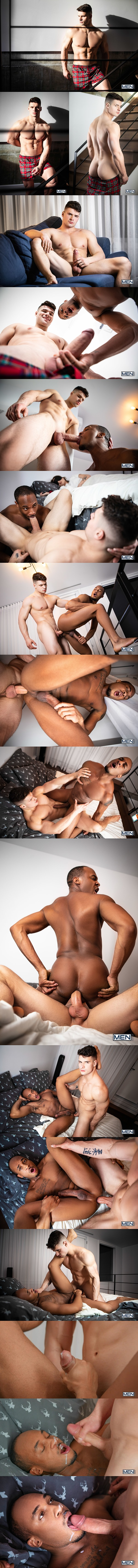 Men - muscular Canadian stripper Malik Delgaty barebacks hung black muscle hunk Trent King before he fucks the cum out of Trent and dumps a thick load on Trent's face 02