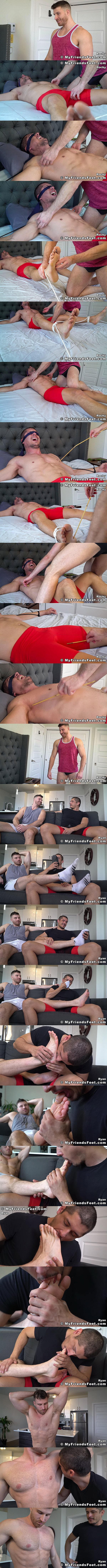 Myfriendsfeet - Rocky Vallarta firstly gets tickled by manly newcomer Ryan Ellis before he sniffs, worships and licks Ryan's sports socks and masculine bare feet 02