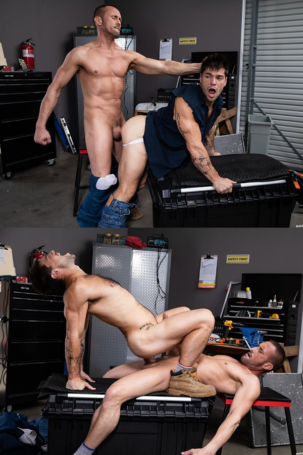 Ragingstallion - ripped, masculine daddy Myles Landon barebacks sexy muscle jock Aspen until he fucks the cum out of Aspen and breeds him with feltching in Maximum Torque 01