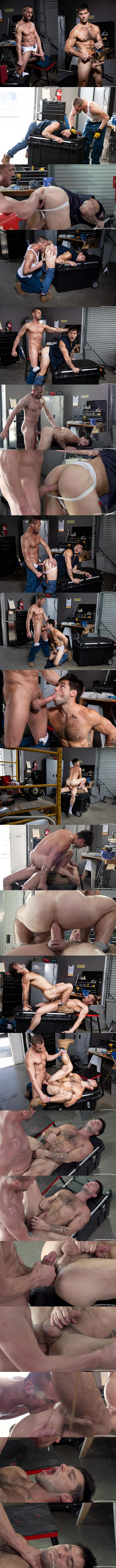 Ragingstallion - ripped, masculine daddy Myles Landon barebacks sexy muscle jock Aspen until he fucks the cum out of Aspen and breeds him with feltching in Maximum Torque 02