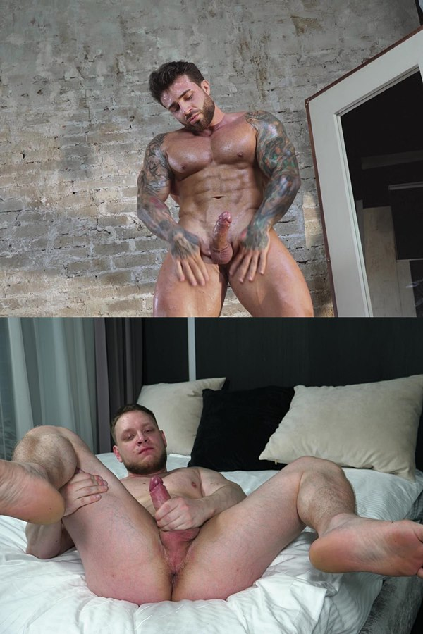 Theguysite - manly, handsome fitness trainer Maxim (aka Maximus Barmin) and Russian boxer Sam pose their naked muscle bodies and jerk their hard cocks until they cum 01