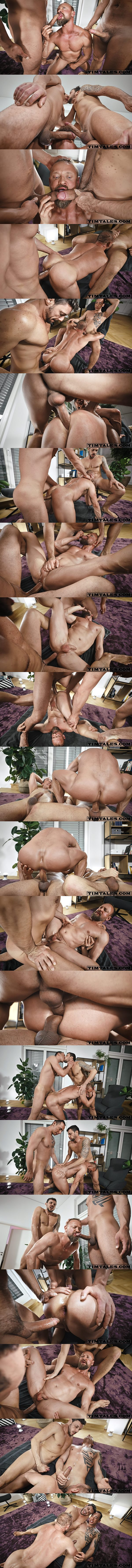Timtales - Gaucho and Tian Tao tag team and bareback muscle daddy Guido Stahl in different positions before they double penetrate Guido and blow their creamy loads 02