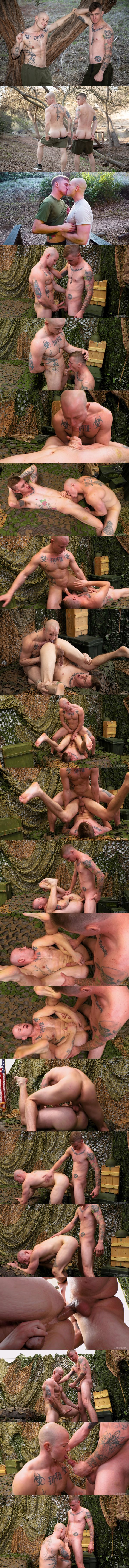 Activeduty - fit tattooed military stud Niko Carr and veteran gay porn star Ryan Jordan take turns barebacking each other before Ryan nuts on Niko's mouth and chest 02