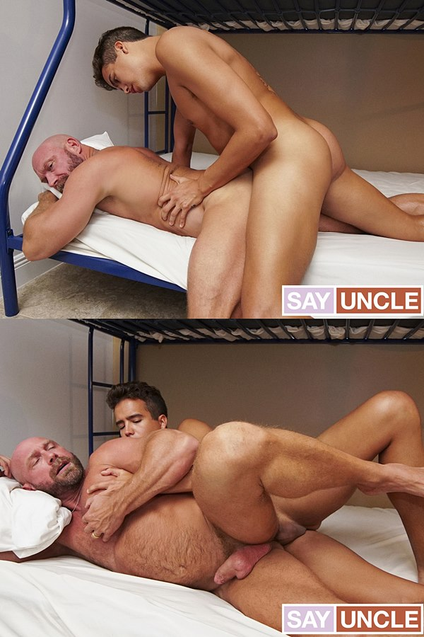Familydick - stepson Johnny Bandera (aka Johnny Cheeks) barebacks his manly stepdad Killian Knox's muscle butt before he fucks the cum out of Killian and creampies him 01