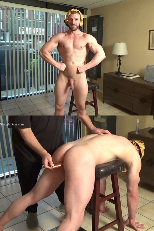 Hardupstraightguys - macho straight hunk Anthony gets his virgin ass fingered and dildo-fucked before he jerks off and tastes his cum in front of the storefront window 01