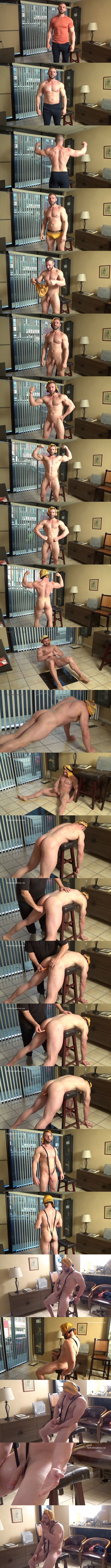 Hardupstraightguys - macho straight hunk Anthony gets his virgin ass fingered and dildo-fucked before he jerks off and tastes his cum in front of the storefront window 02