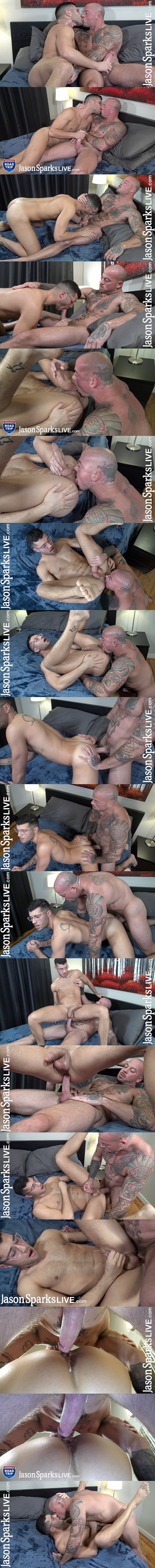 Jasonsparkslive - inked hunky gay porn star Sean Duran barebacks newbie Jeremy George before he fucks the cum out of Jeremy and creampies him in Jeremy's bottoming debut 02
