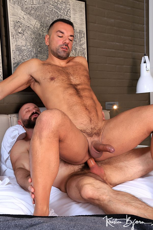 Kristenbjorn - macho hairy daddy Mario Roma barebacks Spanish stud Oliver Marinho (aka Frederic Duris) in several positions until he fucks the cum out of Oliver in Maneuvers 01