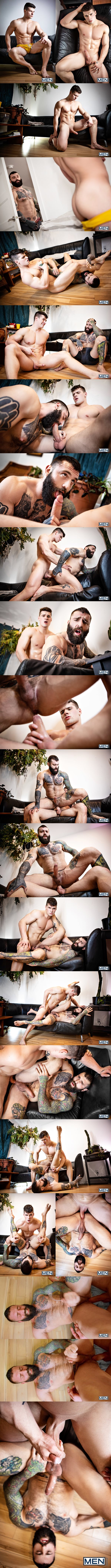 Men - handsome Canadian straight jock Malik Delgaty barebacks masculine beefcake Markus Kage in several positions before he fucks the cum out of Markus in Bi-CuriAss 02