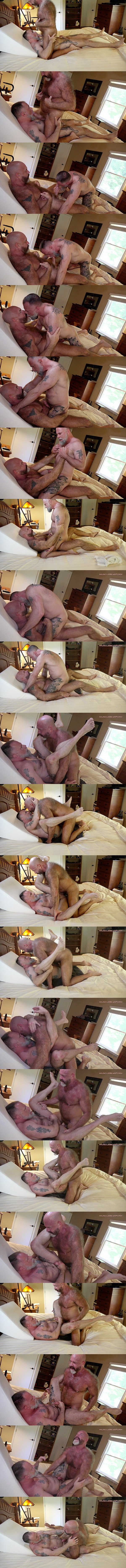 Musclebearporn - sexy hairy daddy Mack Austin barebacks muscle bear bottom Liam Angell in cowboy and missionary style until he fucks the cum out of Liam in Daddy Collector 02