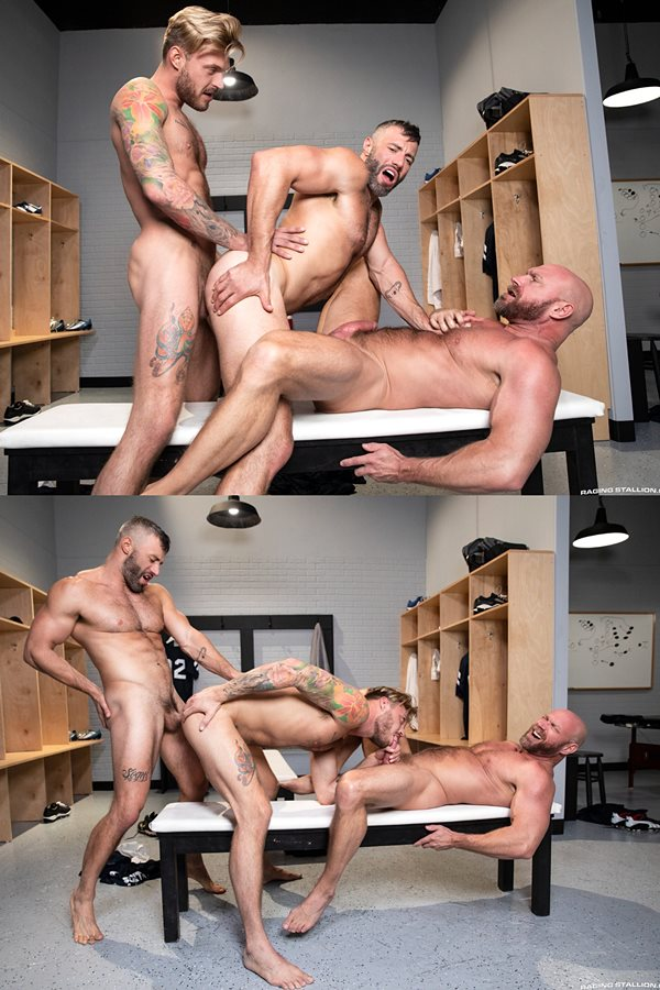 Ragingstallion - porn newbie Chad Hammer, sexy hairy muscle stud Cole Connor and bald muscle daddy Killian Knox take turns barebacking each other in Scrum 01