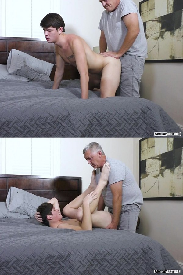 Raunchybastards - daddy Clay barebacks twink newbie Lucas Porter in this older younger scene before he creampies Lucas in Fucking Cum In Me 01