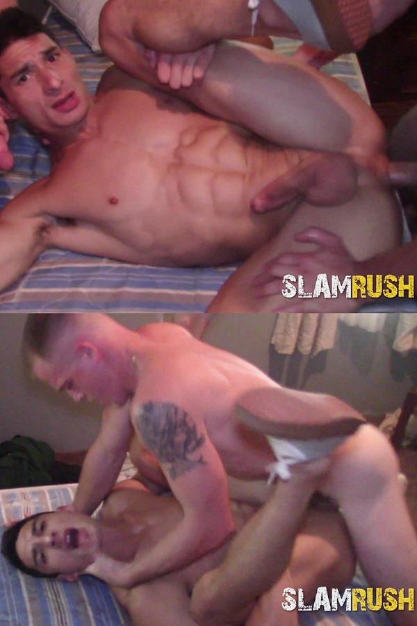 Slamrush - street slammers Jake Hart, Jeremy G, Shawn Skyler and Tony Hawg gangbang Jim (aka Jim Nasty) before Jim gets creampied in Desperate Dumpster Finale 01