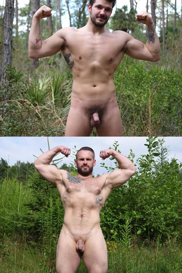 Theguysite - rugged bearded straight guy James and big pec Russian muscle man Max (aka Nikita) show off their naked muscle bodies outdoors before they jerk off 01