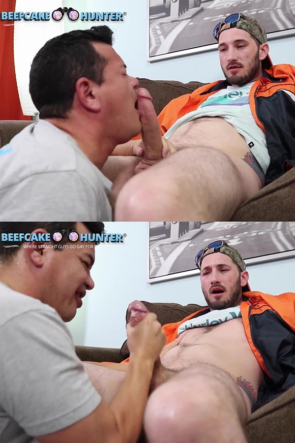 Beefcakehunter - Victor deep-throats manly staight dude Kip's big cock and licks his big balls before he wanks Kip off in Choking On Kip Big White Cock 01