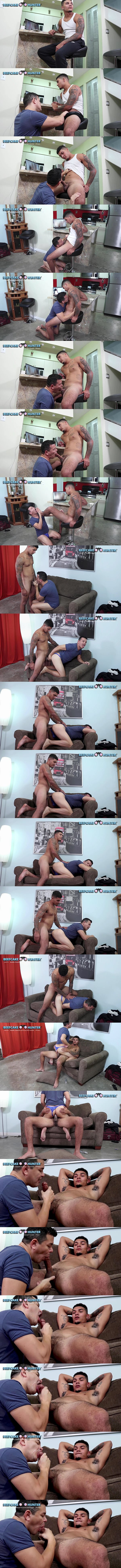 Beefcakehunter - manly straight muscle hunk, construction worker Kameroon fucks Victor's mouth and ass before Victor jerks Kameroon off in Kameroon Magic Ride 02