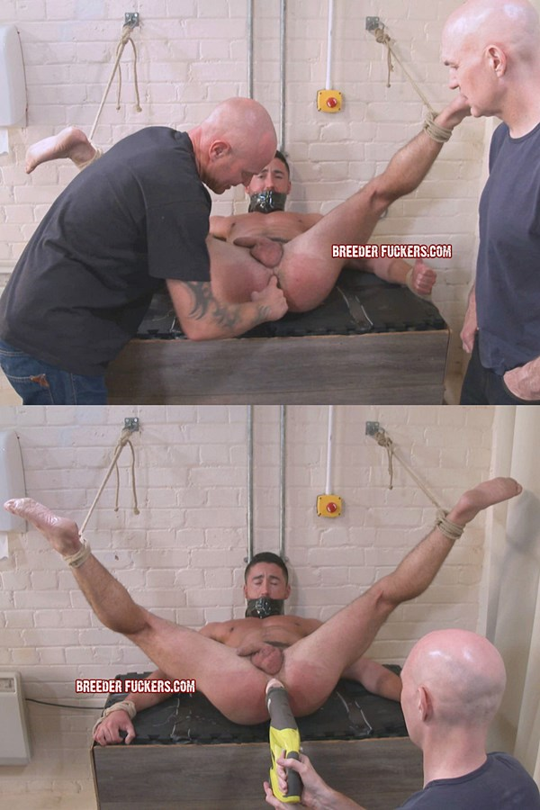 Breederfuckers - straight beefcake Thomas bound, gagged, groped, arse beaten, supervised enema, sphincter cruelly stretched open and fucked with a giant dildo 01