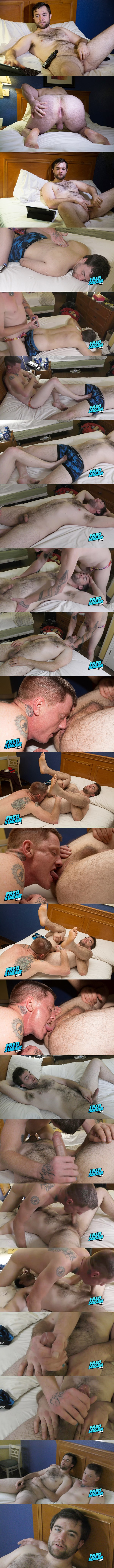 Fredsugar - Tattooed master Deep Tilmil massages fuzzy straight muscle bear Buddy Cedarwood's body, worships his bare feet and sucks his cock before Deep jerks Buddy off 02