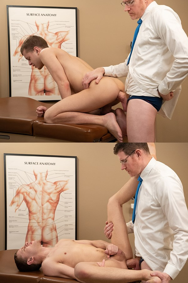Funsizeboys - hung Doctor LeGrand Wolf plows Ian Levine's tight ass with his big raw cock in his office before he fucks the cum out of Ian and creampies him 01