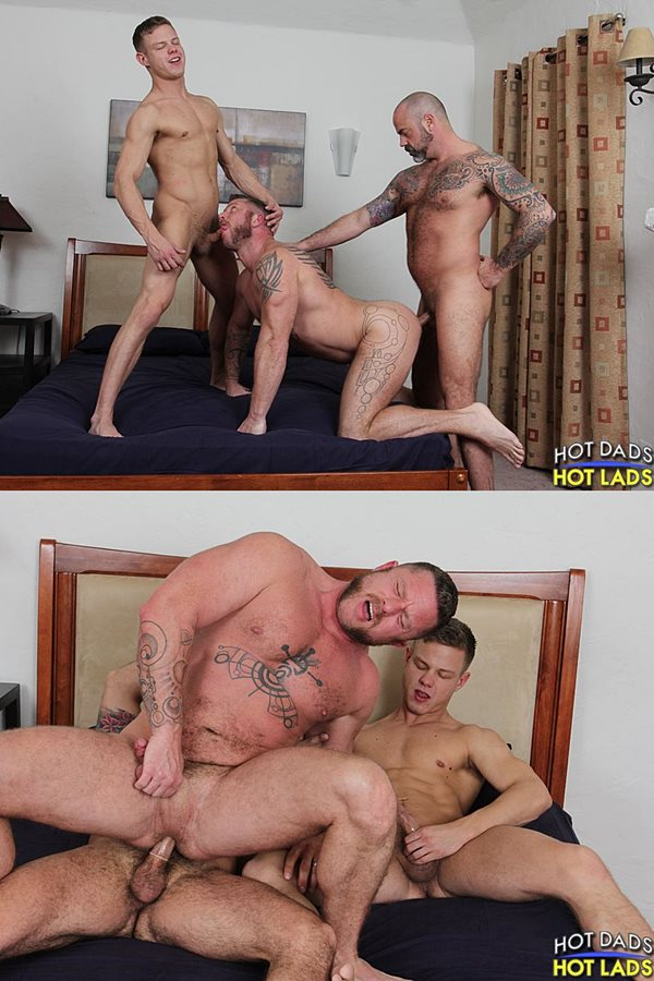 Hotdadshotlads - masculine tattooed beefcake Scotty Rage and blonde jock Joseph Rough tag team and fuck Aussie muscle hunk Charlie Harding in an older younger threesome 01