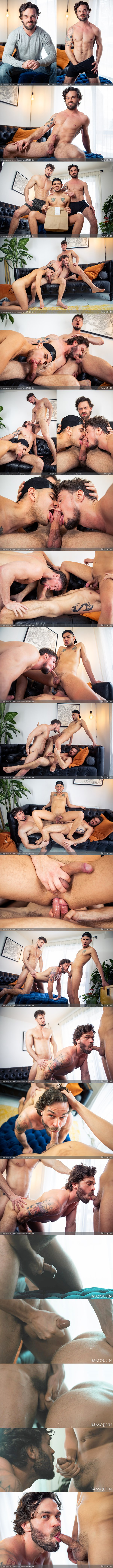 Masqulin - porn star Skyy Knox, Alex Montenegro and James Fox (aka Furry Fit Fox) have a threesome before Skyy and James double penetrate Alex in Delivery Guy 02