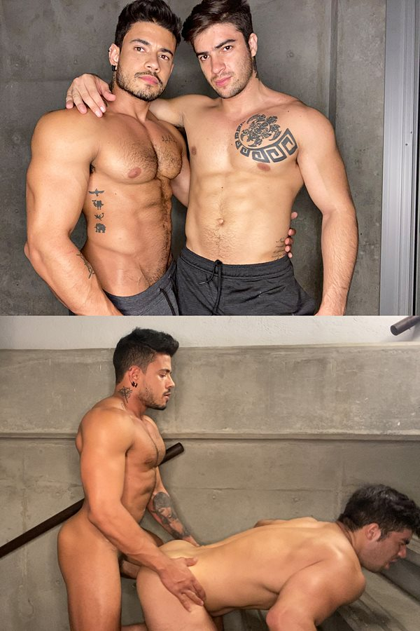 Men - Hot muscular stud Alejo Ospina barebacks popular cam model Daniel Montoya (aka Mason Blaze) in several positions before he fucks the cum out of Daniel and creampies him in Hung Part 3 01