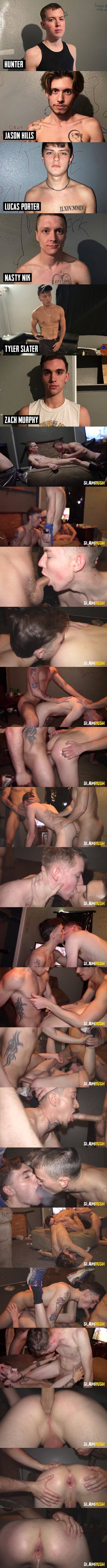 Slamrush - street slammers Jason Hills, Zach Murphy, Nasty Nik, Lucas Porter and Tyler Slater gangbang and creampie twink newbie Hunter in Dead End Dump 02