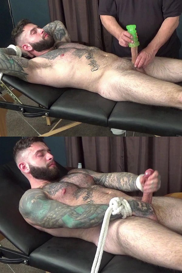Slowteasinghandjobs - inked macho stud, straight constructon worker Joey (aka Giovanni) gets slowly teased and edged before Joey blows his white jizz 01