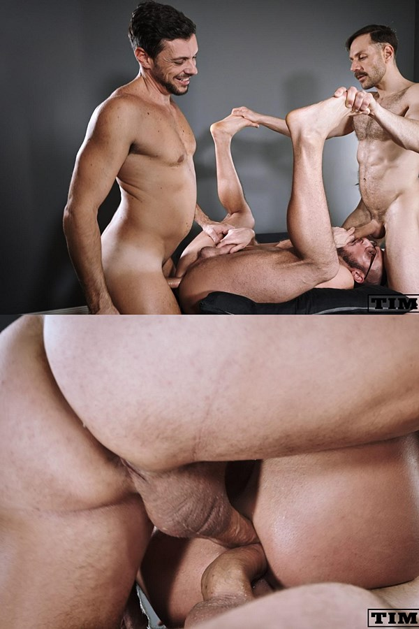 Timtales - Manly, hung Brazilian power tops Gaucho and Mario Galeno double fuck power bottom Saverio in different positions before they give Saverio two facials 01