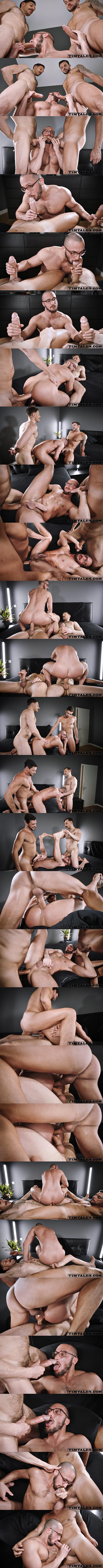 Timtales - Manly, hung Brazilian power tops Gaucho and Mario Galeno double fuck power bottom Saverio in different positions before they give Saverio two facials 02