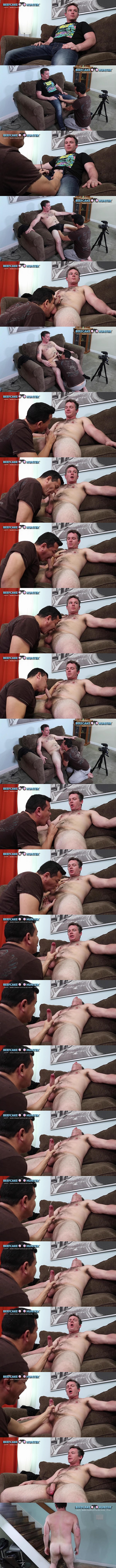 Beefcakehunter - Victor deep-throats straight uber driver Craig's dick and licks his big balls before he strokes a big creamy load out of Craig's hard pole 02
