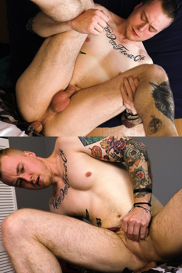 Boyshalfwayhouse - the house manager barebacks inked straight lad Travis Malone's virgin ass in a POV scene before he cums on Travis' face in Try Learn Grow 01