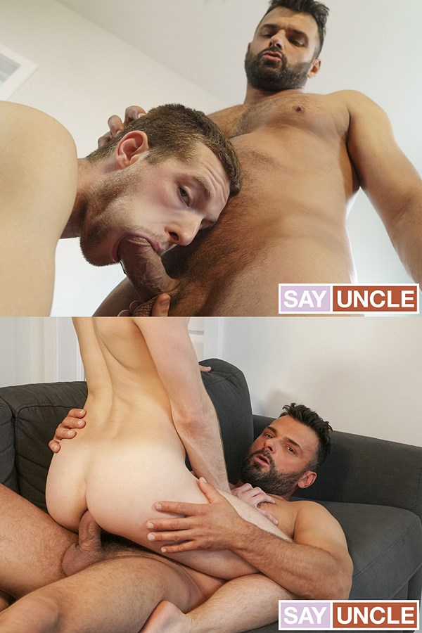 Dadcreep - bearded macho daddy Jeremy Spark barebacks his stepson, cute twink Benjamin Blue until he fucks the cum out of Benjamin in Stepdad Spots Me 01