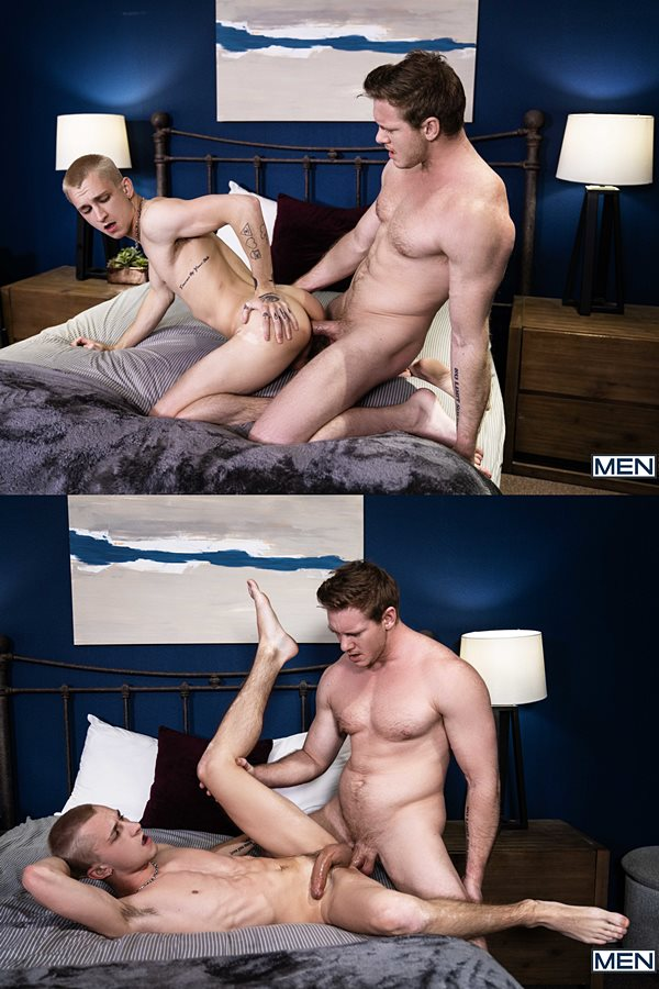 Men - handsome, big-dicked straight top Jax (aka Jordan Hayes) barebacks blond twink Theo Brady before he fucks the cum out of Theo and creampies him in Jaxhammered 01