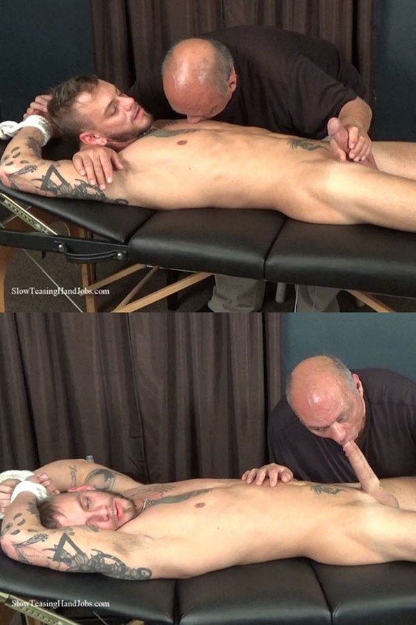 Slowteasinghandjobs - master Rick slowly suck, stroke and edge bisexual stud Justin Case's dick and balls before Justin blows his creamy load in Rich's mouth 01