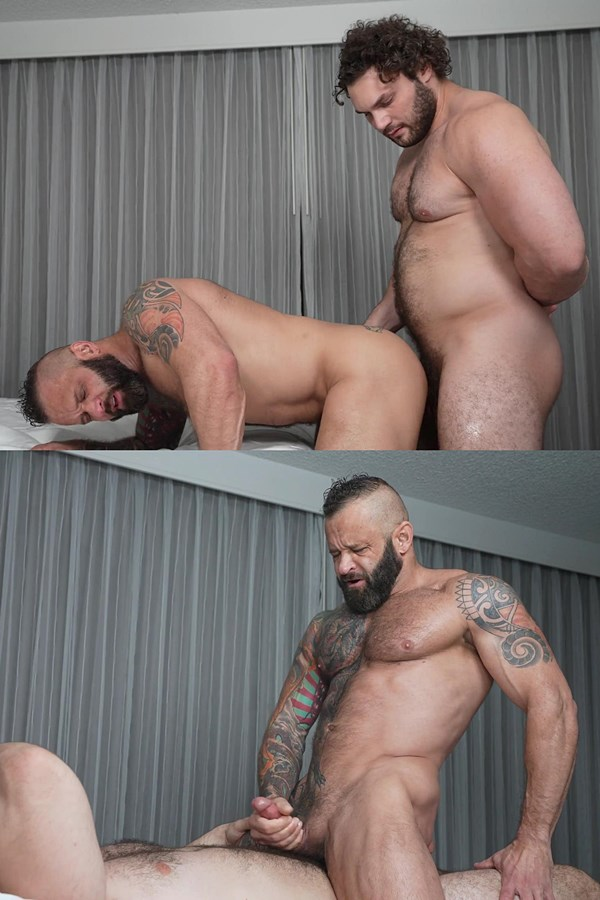 Theguysite - manly, hairy straight football hunk Ludvig fucks inked muscle daddy Tank Joey in several positions until he fucks the cum out of Tank and cums on his face 01