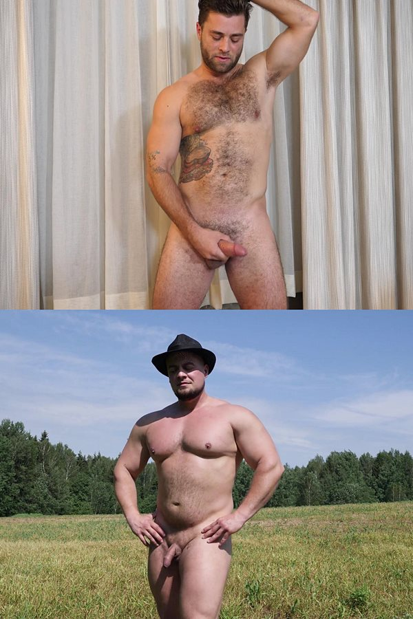 Theguysite - macho, hairy straight stud Mike and Russian Strongman Oleg pose their naked muscle bodies and jerk their hard cocks until they cum hands-free 01