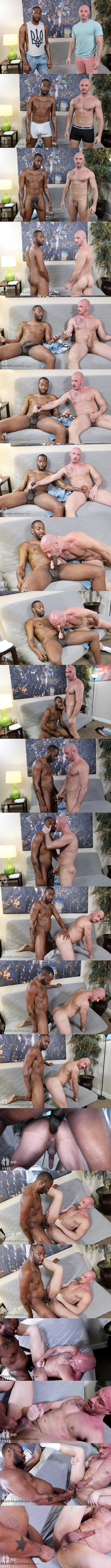 Baitbuddies - big-dicked black porn star August Alexander barebacks bald daddy bottom Greg Riley in an interracial encounter before he fucks the cum out of Greg 02
