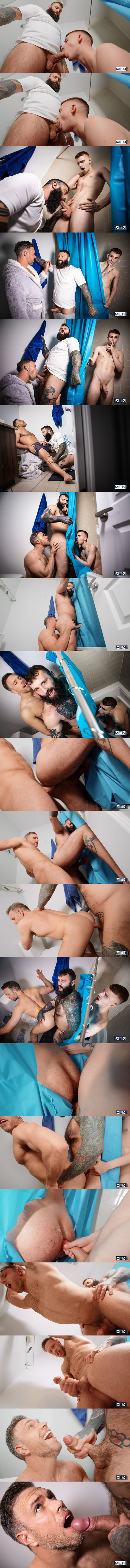 Men - Alex Mecum, Markus Kage, Ryan Jacobs bareback each other in a sandwich fuck train before Markus fucks the cum out of Alex in Glory-ous Shower Fuck 02