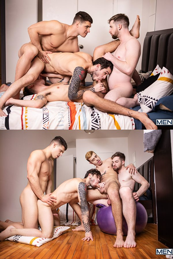 Men - handsome Canadian straight stud Malik Delgaty barebacks Sean Peek, Thyle Knoxx and Dex Parker before Malik fucks the cum out of Sean and Dex in Gawkers Uncut 01