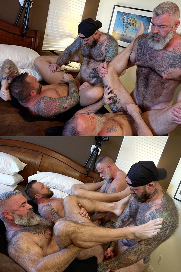 Musclebearporn - Liam Griffin, Liam Angell and Will Angell take turns getting fucked by Jack Dixon before Jack fucks the cum out of Liam Angell and creampies him 01