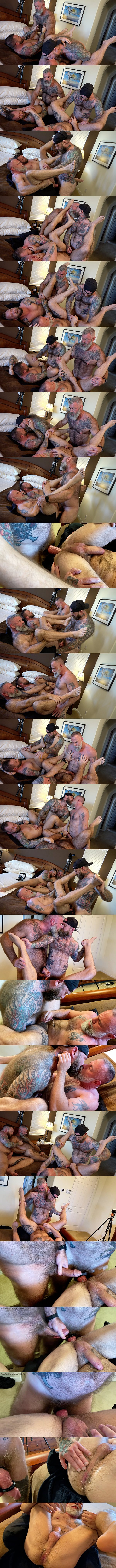 Musclebearporn - Liam Griffin, Liam Angell and Will Angell take turns getting fucked by Jack Dixon before Jack fucks the cum out of Liam Angell and creampies him 02
