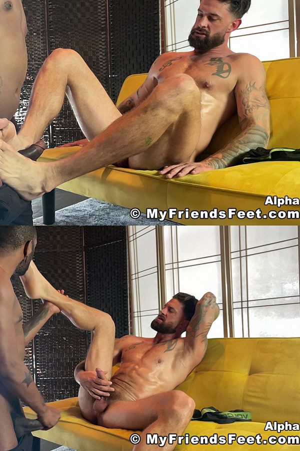 Myfriendsfeet - black porn star August Alexander worships masculine stud Alpha Wolfe's socks and size 13 bare feet before they cum in Alpha's Big Feet Worshiped 01